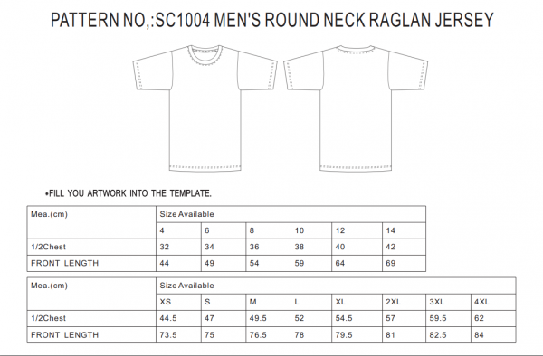 raglan jersey size guide